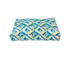 Buy Dog Bed Suede Printed Rectangular Shaped Green & Blue(S) at Best Prices in India